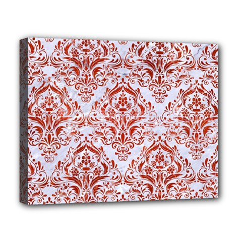 Damask1 White Marble & Red Marble (r) Deluxe Canvas 20  X 16   by trendistuff