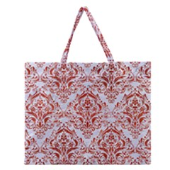Damask1 White Marble & Red Marble (r) Zipper Large Tote Bag by trendistuff