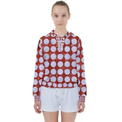 Circles1 White Marble & Red Marble Women s Tie Up Sweat
