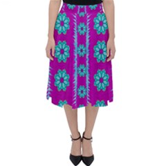Fern Decorative In Some Mandala Fantasy Flower Style Folding Skater Skirt by pepitasart