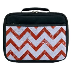 Chevron9 White Marble & Red Marble (r) Lunch Bag