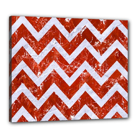 Chevron9 White Marble & Red Marble Canvas 24  X 20
