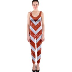 Chevron9 White Marble & Red Marble One Piece Catsuit