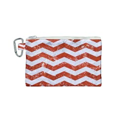 Chevron3 White Marble & Red Marble Canvas Cosmetic Bag (small) by trendistuff