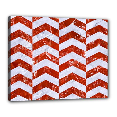 Chevron2 White Marble & Red Marble Canvas 20  X 16  by trendistuff