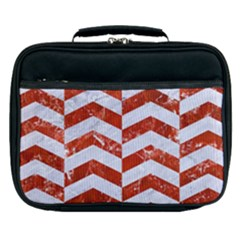 Chevron2 White Marble & Red Marble Lunch Bag