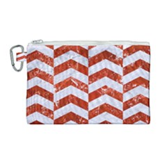 Chevron2 White Marble & Red Marble Canvas Cosmetic Bag (large) by trendistuff