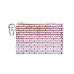 Brick1 White Marble & Red Marble (r) Canvas Cosmetic Bag (small) by trendistuff
