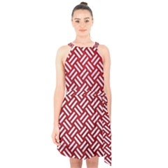 Woven2 White Marble & Red Leather Halter Collar Waist Tie Chiffon Dress