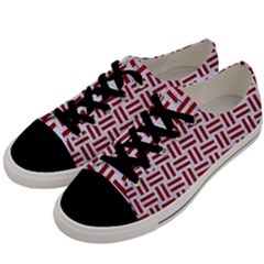 Woven1 White Marble & Red Leather (r) Men s Low Top Canvas Sneakers by trendistuff