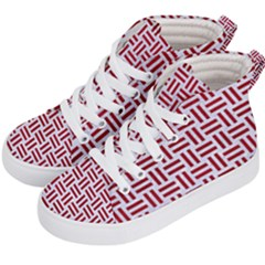 Woven1 White Marble & Red Leather (r) Kid s Hi Top Skate Sneakers by trendistuff