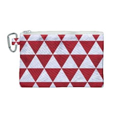 Triangle3 White Marble & Red Leather Canvas Cosmetic Bag (medium) by trendistuff