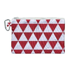 Triangle3 White Marble & Red Leather Canvas Cosmetic Bag (large) by trendistuff