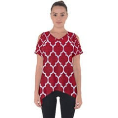 Tile1 White Marble & Red Leather Cut Out Side Drop Tee