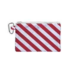 Stripes3 White Marble & Red Leather Canvas Cosmetic Bag (small) by trendistuff