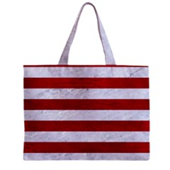 Stripes2white Marble & Red Leather Zipper Mini Tote Bag by trendistuff