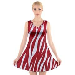Skin3 White Marble & Red Leather V Neck Sleeveless Skater Dress
