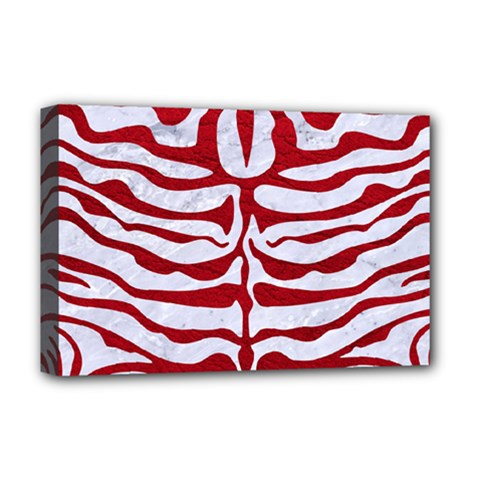 Skin2 White Marble & Red Leather (r) Deluxe Canvas 18  X 12