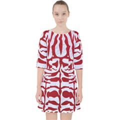 Skin2 White Marble & Red Leather (r) Pocket Dress