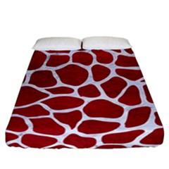 Skin1 White Marble & Red Leather (r) Fitted Sheet (california King Size) by trendistuff