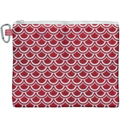 Scales2 White Marble & Red Leather Canvas Cosmetic Bag (xxxl) by trendistuff