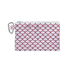 Scales1 White Marble & Red Leather (r) Canvas Cosmetic Bag (small)