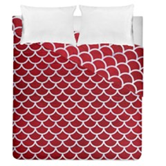 Scales1 White Marble & Red Leather Duvet Cover Double Side (queen Size) by trendistuff