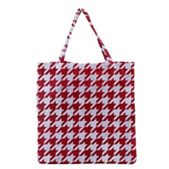 Houndstooth1 White Marble & Red Leather Grocery Tote Bag by trendistuff