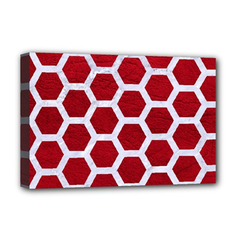 Hexagon2 White Marble & Red Leather Deluxe Canvas 18  X 12