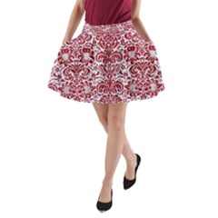 Damask2 White Marble & Red Leather (r) A Line Pocket Skirt by trendistuff