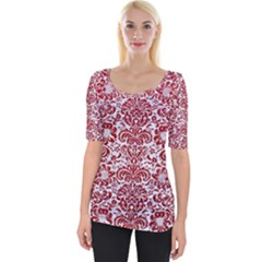 Damask2 White Marble & Red Leather (r) Wide Neckline Tee