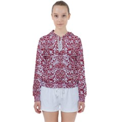 Damask2 White Marble & Red Leather (r) Women s Tie Up Sweat
