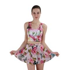 Floral Butterflies Print Mini Skirt