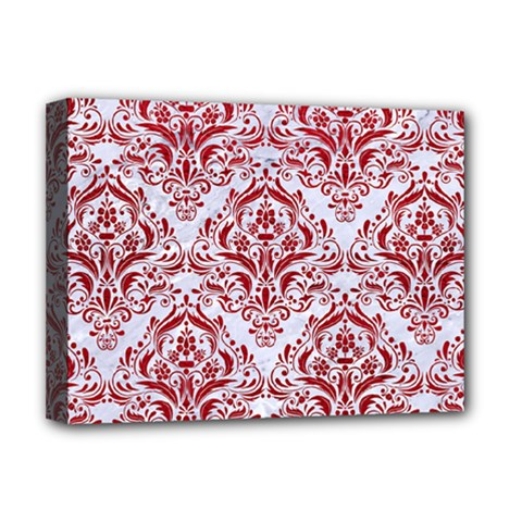 Damask1 White Marble & Red Leather (r) Deluxe Canvas 16  X 12   by trendistuff