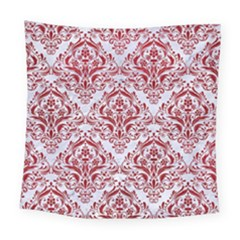 Damask1 White Marble & Red Leather (r) Square Tapestry (large) by trendistuff