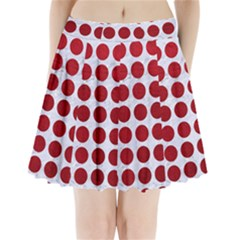 Circles1 White Marble & Red Leather (r) Pleated Mini Skirt