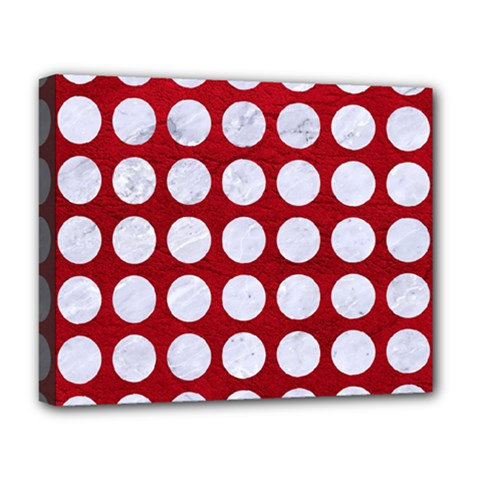 Circles1 White Marble & Red Leather Deluxe Canvas 20  X 16