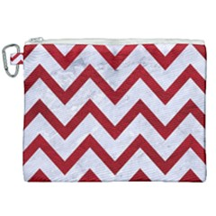 Chevron9 White Marble & Red Leather (r) Canvas Cosmetic Bag (xxl) by trendistuff