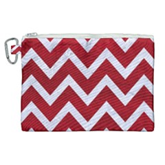Chevron9 White Marble & Red Leather Canvas Cosmetic Bag (xl) by trendistuff