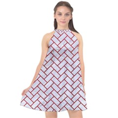Brick2 White Marble & Red Leather (r) Halter Neckline Chiffon Dress