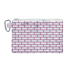 Brick1 White Marble & Red Leather (r) Canvas Cosmetic Bag (medium) by trendistuff