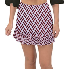 Woven2 White Marble & Red Grunge (r) Fishtail Mini Chiffon Skirt