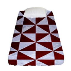 Triangle1 White Marble & Red Grunge Fitted Sheet (single Size) by trendistuff