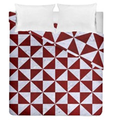Triangle1 White Marble & Red Grunge Duvet Cover Double Side (queen Size) by trendistuff