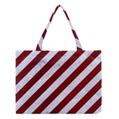 Stripes3 White Marble & Red Grunge (r) Medium Tote Bag by trendistuff