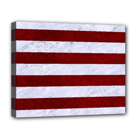 Stripes2white Marble & Red Grunge Deluxe Canvas 20  X 16
