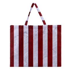 Stripes1 White Marble & Red Grunge Zipper Large Tote Bag by trendistuff