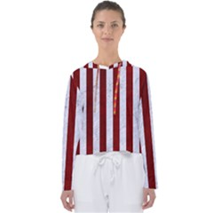Stripes1 White Marble & Red Grunge Women s Slouchy Sweat