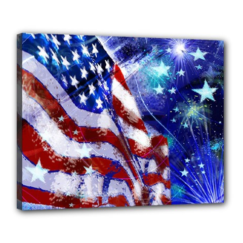American Flag Red White Blue Fireworks Stars Independence Day Canvas 20  X 16  by Sapixe