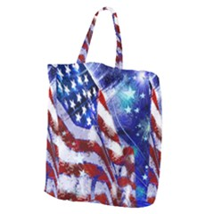 American Flag Red White Blue Fireworks Stars Independence Day Giant Grocery Zipper Tote by Sapixe